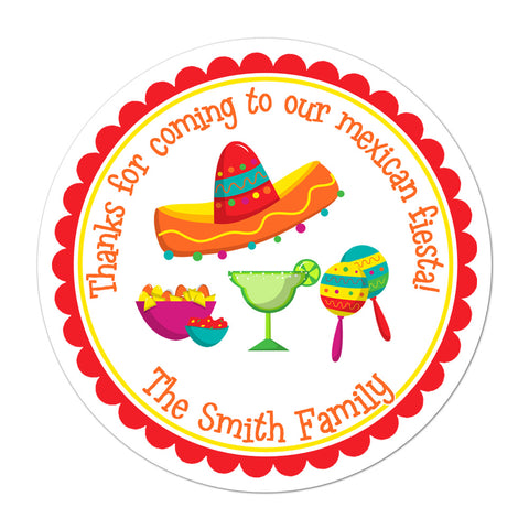 Mexican Fiesta Personalized Birthday Favor Sticker