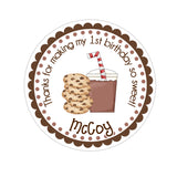 Milk and Cookies Personalized Sticker Birthday Stickers - INKtropolis
