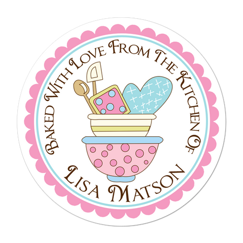 Pastel Mixing Bowls Personalized Kitchen Label