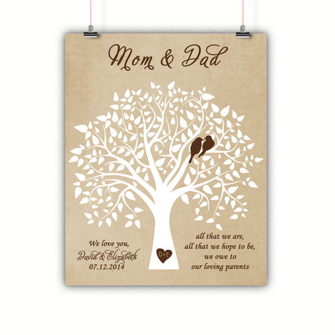 Parents Gift, Thank you, Wedding, Poster, Print, Framed or Canvas