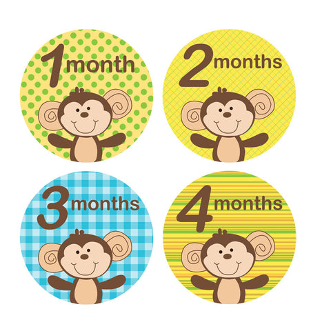Monkey Monthly Baby Stickers