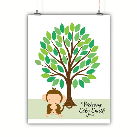 Personalized Baby Shower Guest Book Alternative - Monkey