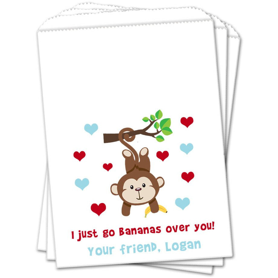 Boy Monkey Valentines Day Favor Bags - Sets of 25 Valentines Day Favor Bags - INKtropolis