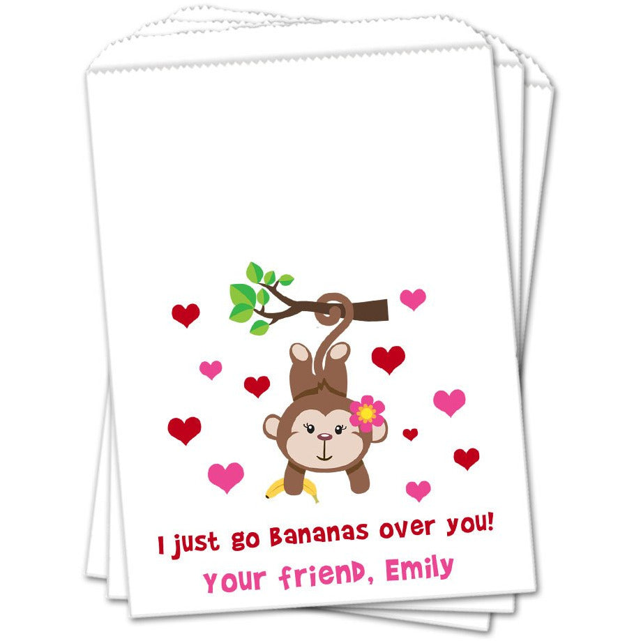 Girl Monkey Valentines Day Favor Bags - Sets of 25 Valentines Day Favor Bags - INKtropolis