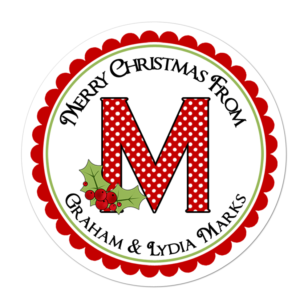 Monogram With Holly Personalized Sticker Christmas Stickers - INKtropolis