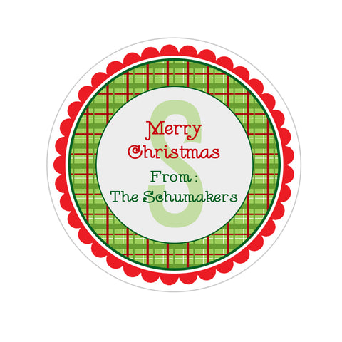 Plaid Monogram Christmas Gift Sticker