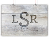 Wedding Guest Book Alternative Poster, Print, Framed or Canvas - Distressed Engraved Monogram  - 200 Signatures White Washed Wood Background wedding guest book alternative - INKtropolis