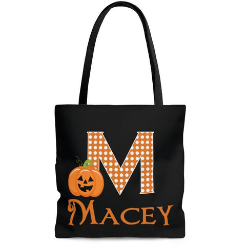 Personalized Halloween Trick Or Treat Bag, Kids Halloween Tote Bag - Pumpkin Monogram