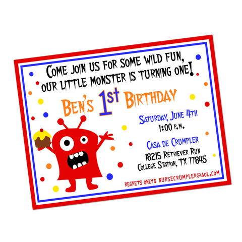 Monster Digital Birthday Invitation