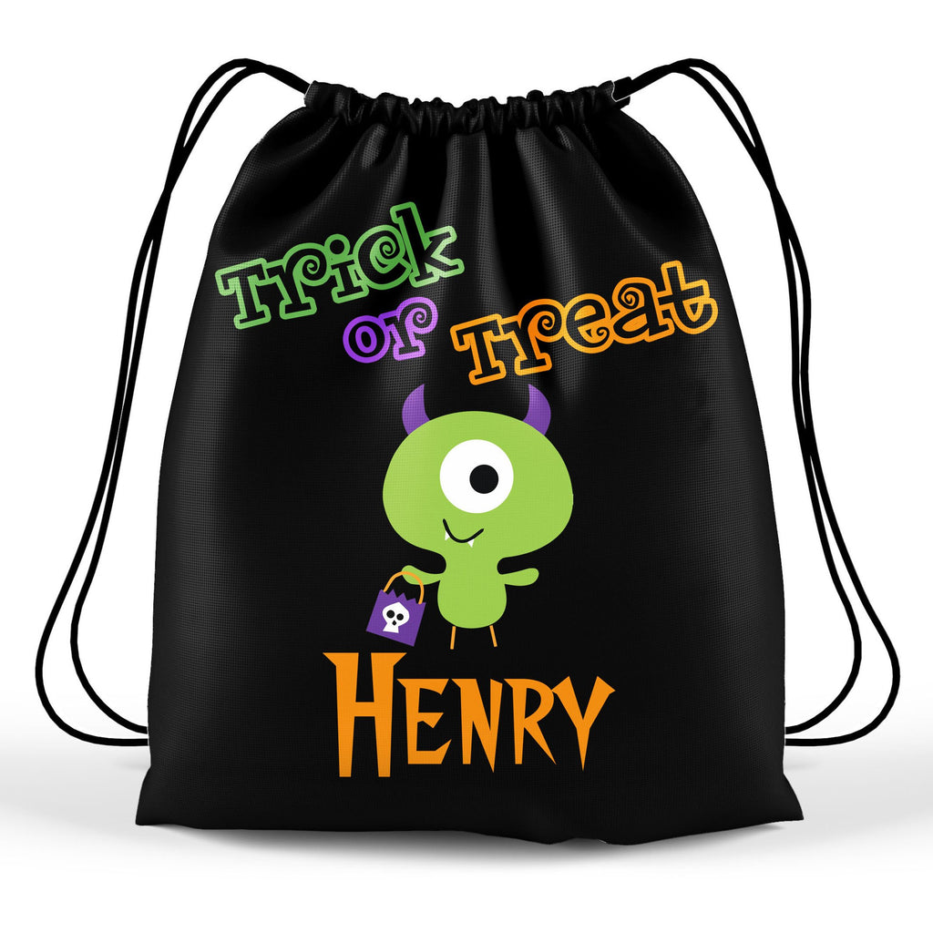 Personalized Halloween Trick Or Treat Bag, Kids Drawstring Bag - Monster