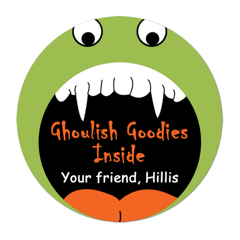 Monster Face Personalized Halloween Sticker