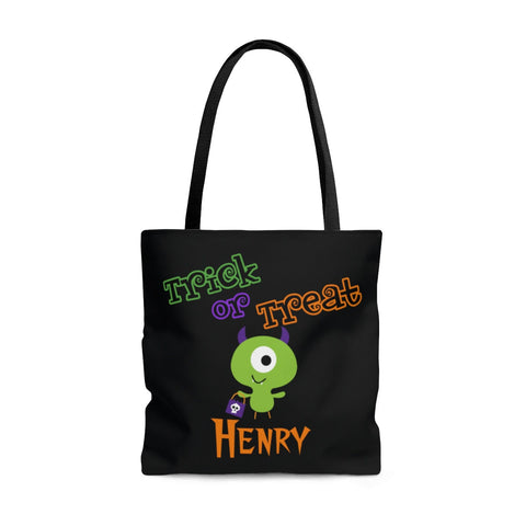 Personalized Halloween Trick Or Treat Bag, Kids Halloween Tote Bag - Monster