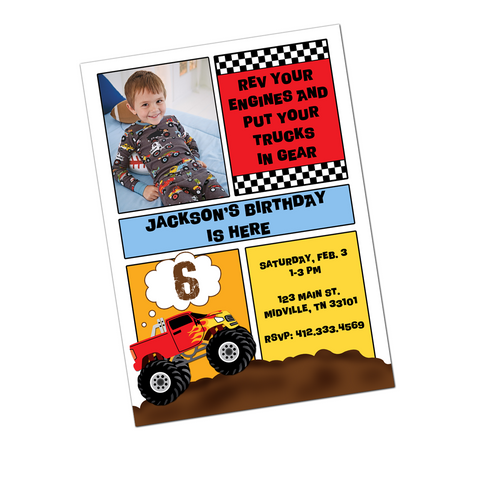 Monster Truck Digital Birthday Invitation