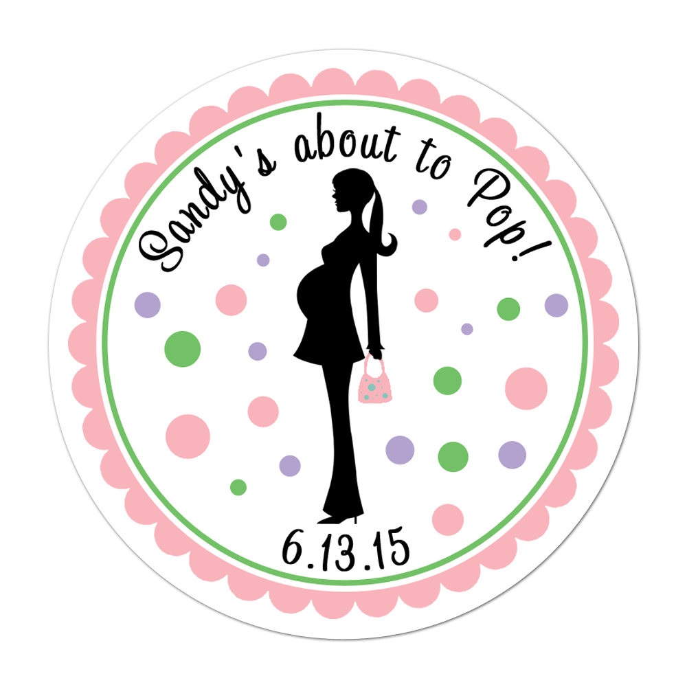 Mother To Be Silhouette Personalized Sticker Baby Shower Stickers - INKtropolis