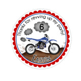 Motocross Dirt Bike Personalized Sticker Birthday Stickers - INKtropolis
