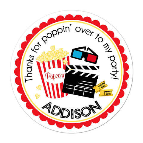 Movie Theater Personalized Birthday Favor Sticker