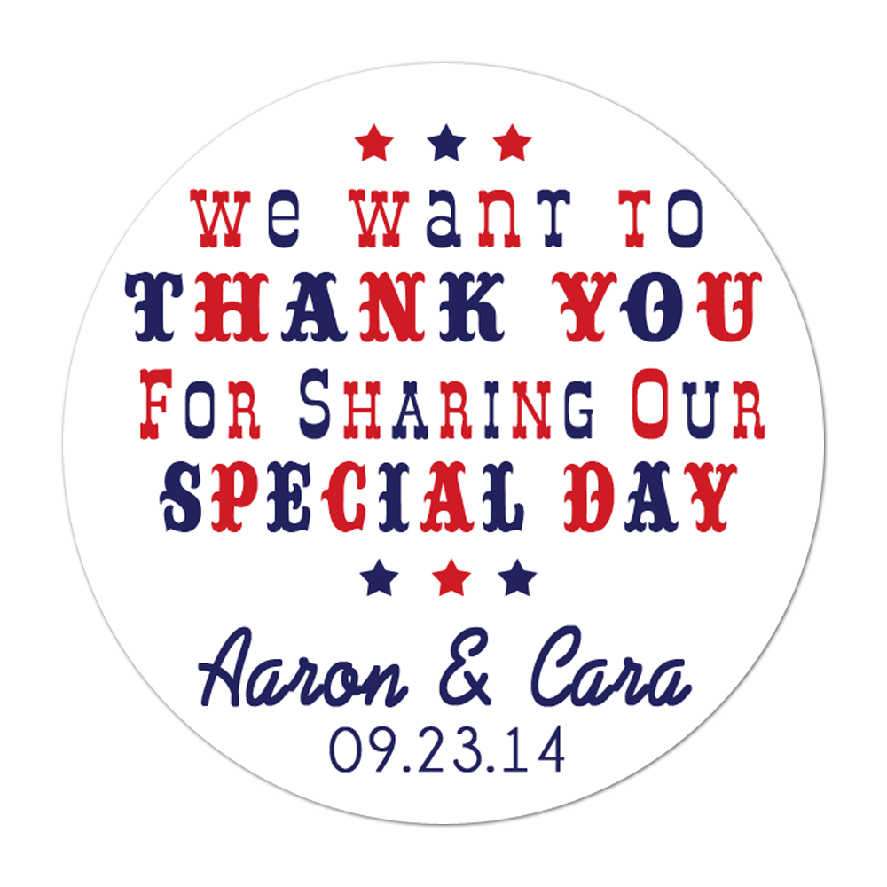 Carnival Circus Font Thank You Personalized Sticker Wedding Stickers - INKtropolis