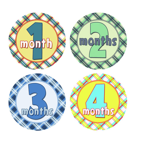 Colorful Plaid Monthly Baby Stickers
