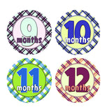 Colorful Plaid Monthly Baby Stickers onesie sticker - INKtropolis