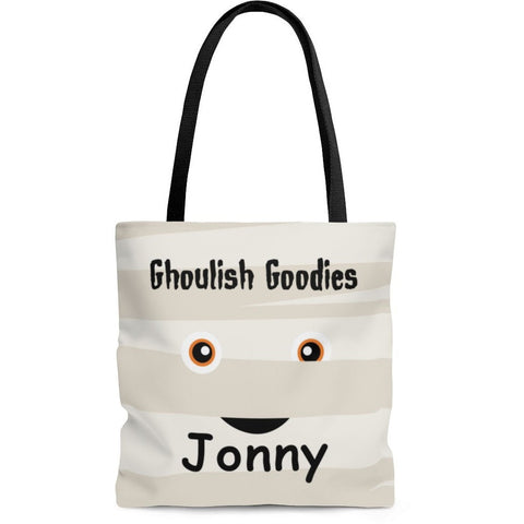 Personalized Halloween Trick Or Treat Bag, Kids Halloween Tote Bag - Mummy