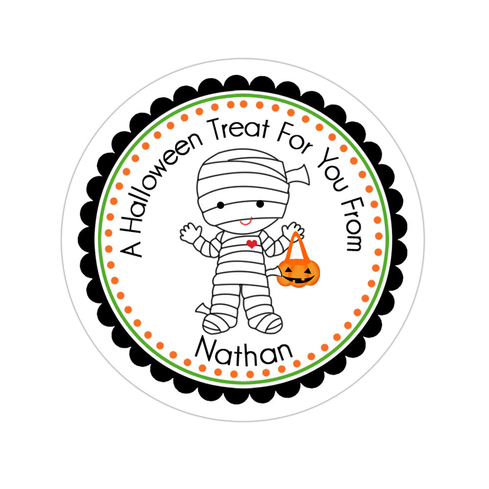 Mummy Costume Personalized Sticker Halloween Stickers - INKtropolis