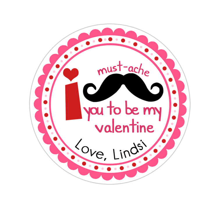 Pink Mustache Valentines Day Personalized Sticker Valentines Day Stickers - INKtropolis