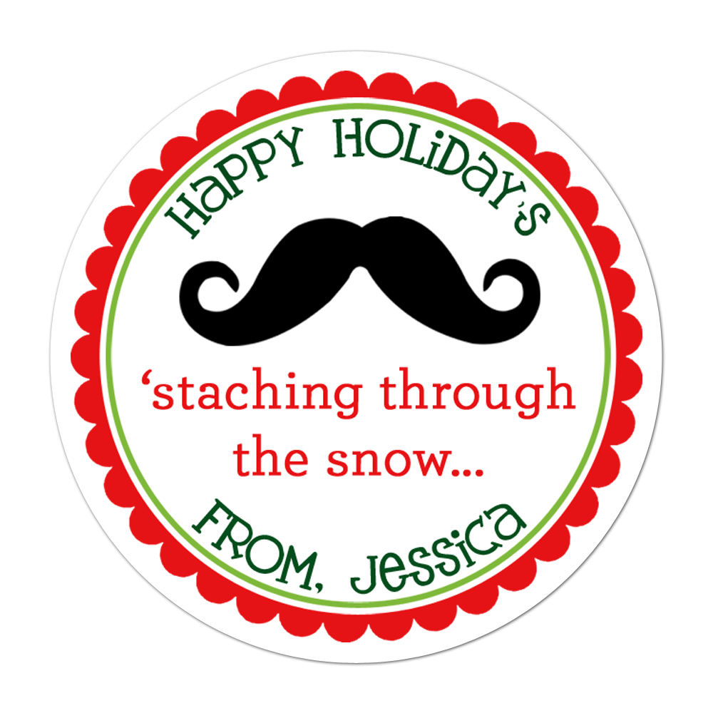 Mustache Personalized Sticker Christmas Stickers - INKtropolis