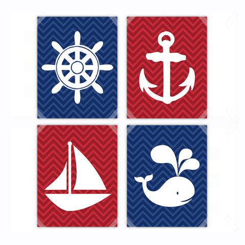 Nautical Anchor, Sailboat, Whale Nursery Wall Art Decor Poster, Print, Framed or Canvas - Set of 4
