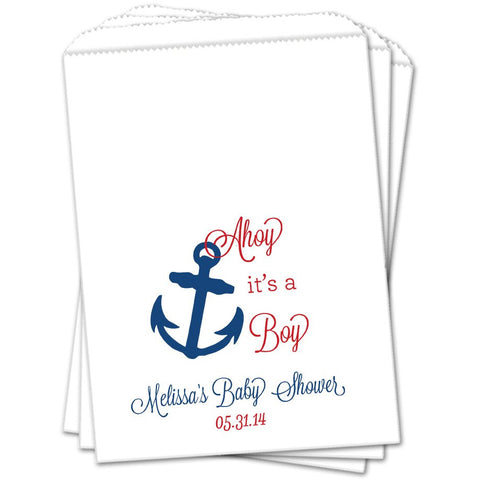 Anchor Personalized Baby Shower Favor Bags