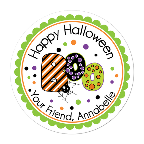 Boo Purple Green Orange Personalized Halloween Sticker