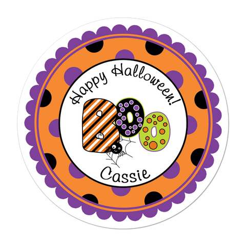 Boo Polka Dot Border Personalized Halloween Sticker
