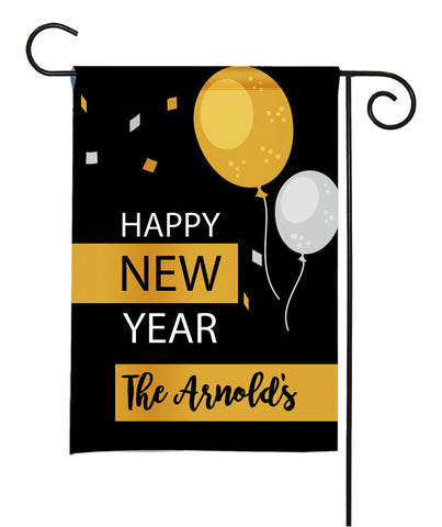 Personalized Happy New Year Garden Flag - Balloons