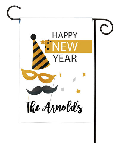 Personalized Happy New Year Garden Flag - New Year Party
