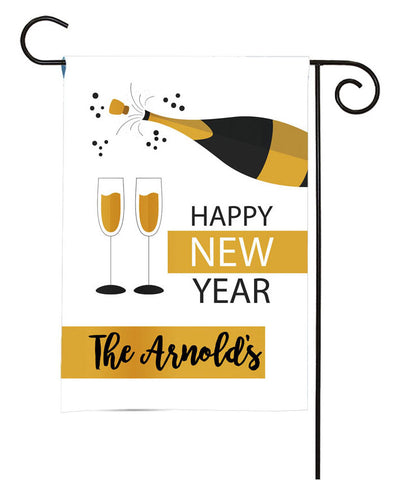 Personalized Happy New Year Garden Flag - New Year Champagne