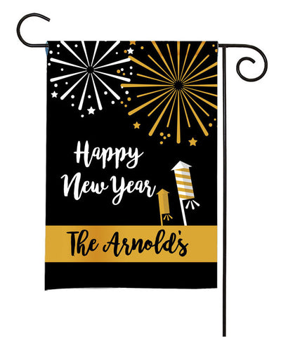 Personalized Happy New Year Garden Flag - New Year Fireworks