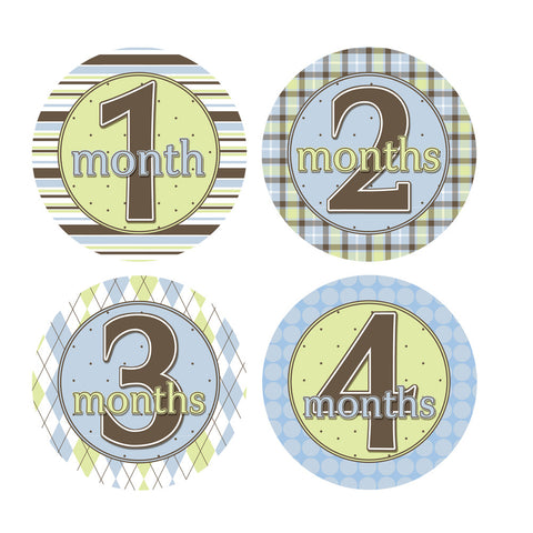 Blue, Green & Brown Patterened Monthly Baby Stickers