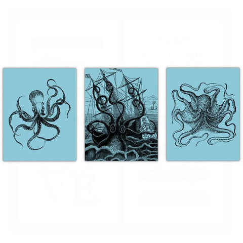 Octopus Bathroom Wall Art - Set of 3