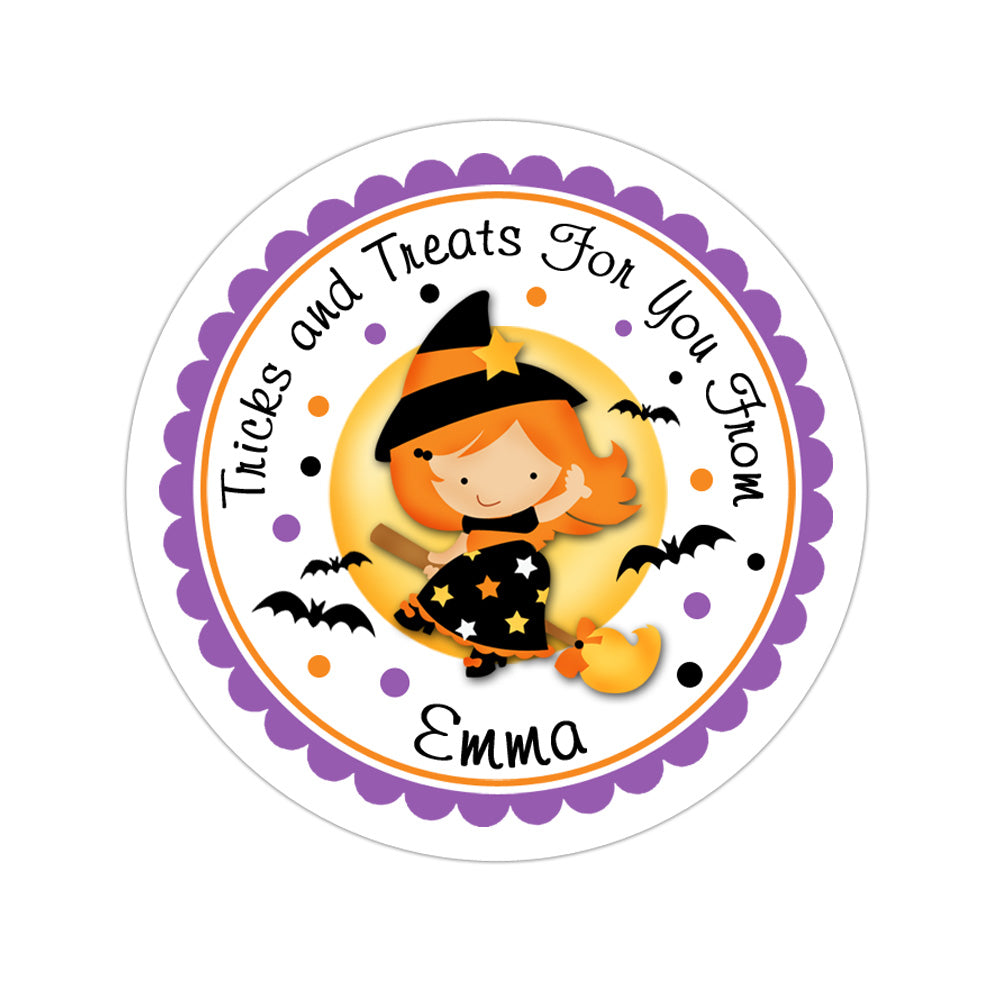 Witch With Moon Personalized Sticker Halloween Stickers - INKtropolis