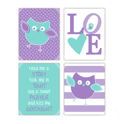 Owl Little Bird Nursery Wall Art - Set of 4