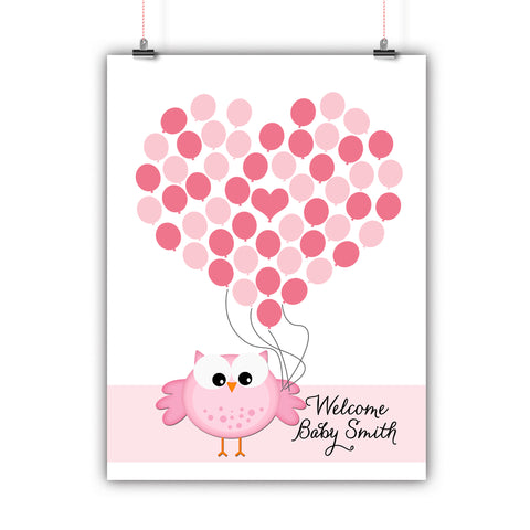 Personalized Baby Shower Guest Book Alternative - Pink Owl