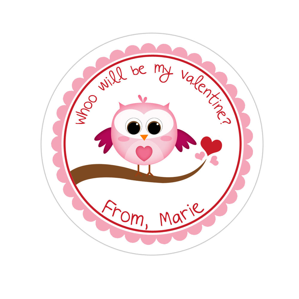 Owl Valentines Day Personalized Sticker Valentines Day Stickers - INKtropolis