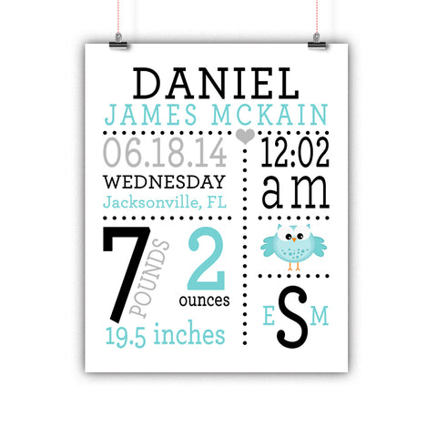 Owl Baby Birth Stats Wall Art, Nursery Decor, Kids Room, Poster, Print, Framed or Canvas