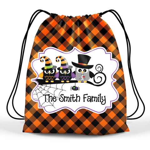 Personalized Halloween Trick Or Treat Bag, Kids Drawstring Bag - Owl Family
