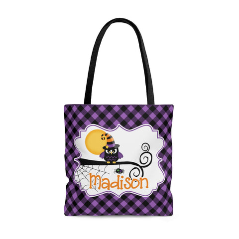 Personalized Halloween Trick Or Treat Bag, Kids Halloween Tote Bag - Owl Witch