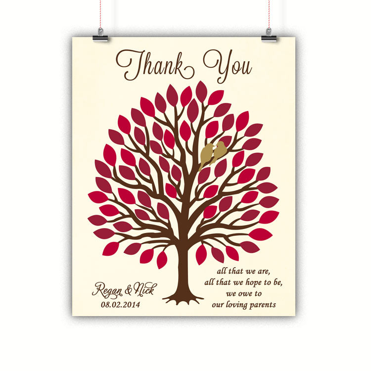 Tree Parents Gift, Thank you, Wedding, Poster, Print, Framed or Canvas wedding art - INKtropolis