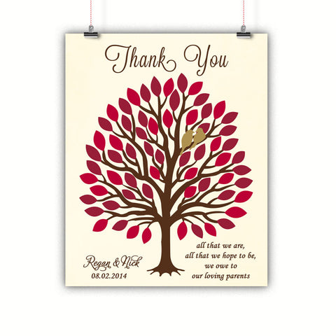 Tree Parents Gift, Thank you, Wedding, Poster, Print, Framed or Canvas