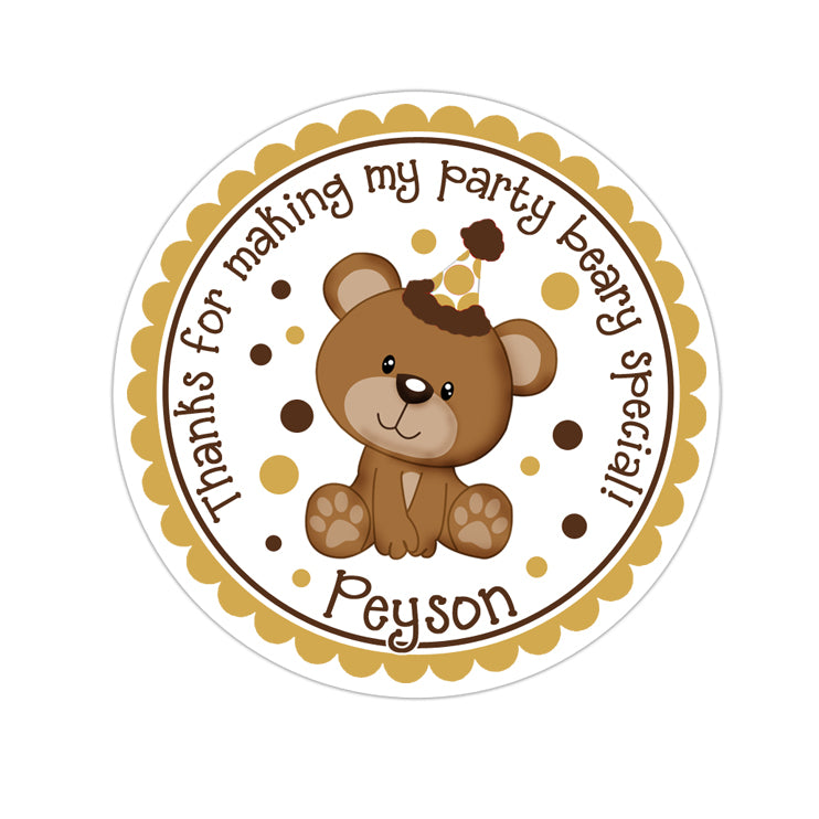 Brown Teddy Bear Personalized Sticker Birthday Stickers - INKtropolis