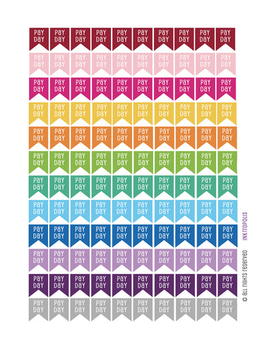 Monthly Planner Stickers Pay Day Flag Stickers Planner Labels Compatible with Erin Condren Vertical Life Planner