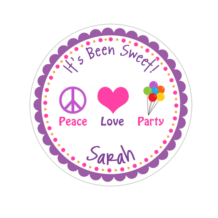 Peace Love Party Personalized Sticker Birthday Stickers - INKtropolis