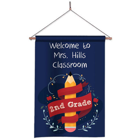 Personalized Classroom Flag - Teacher Flag - Classroom Decor - Pencil Banner